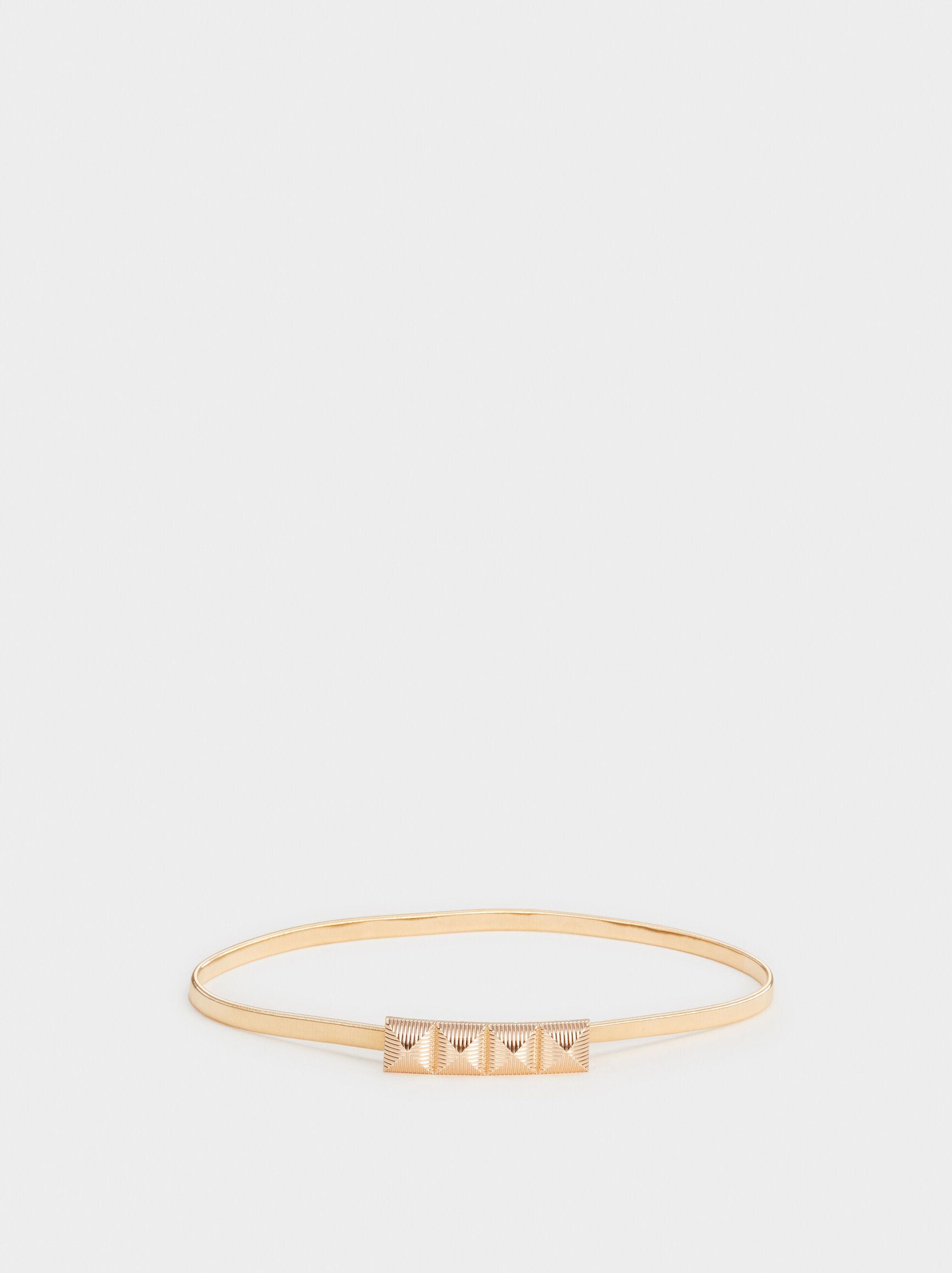 Metal Belt With Appliqué, Golden, hi-res