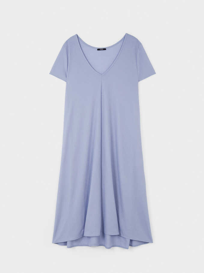 Dress With V-Neckline, Blue, hi-res