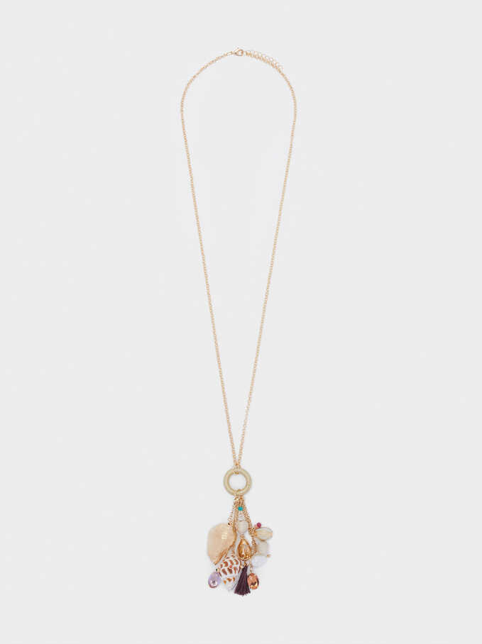 Long Shell And Pearl Necklace, Multicolor, hi-res
