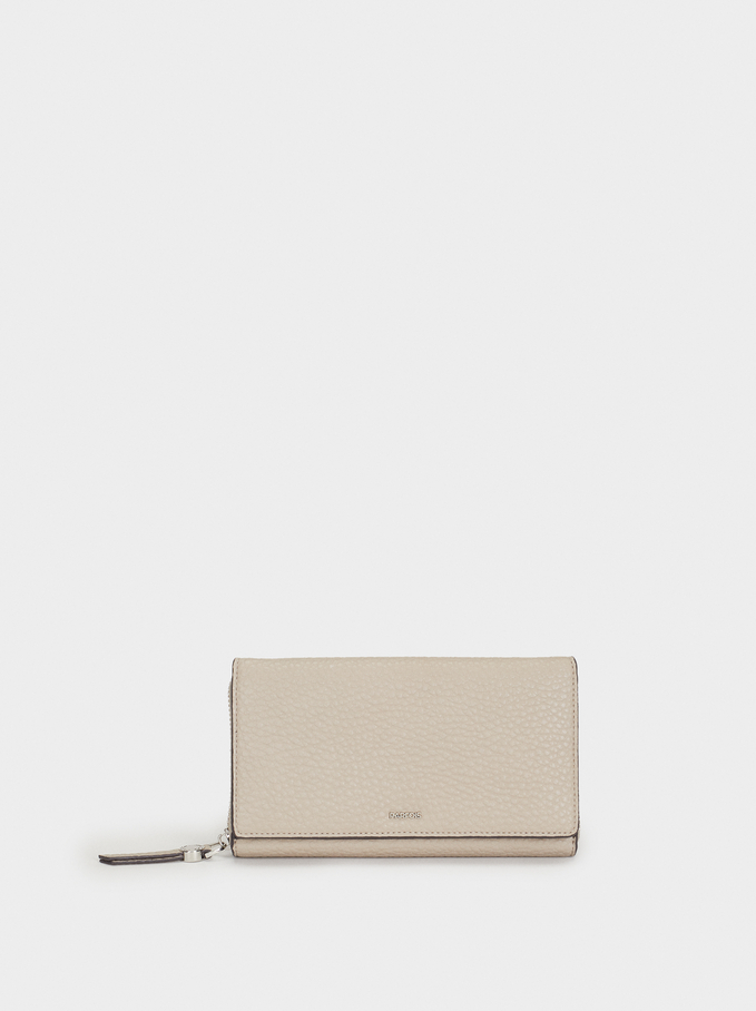 Plain Long Wallet, Brown, hi-res