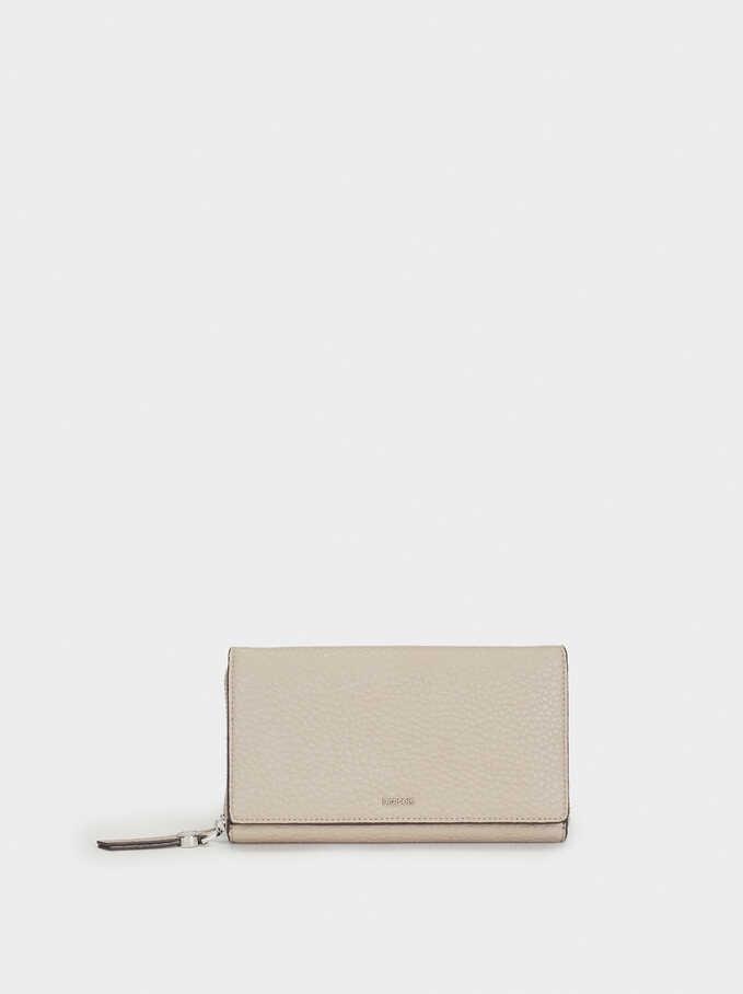 Plain Long Wallet, Brown, hi-res
