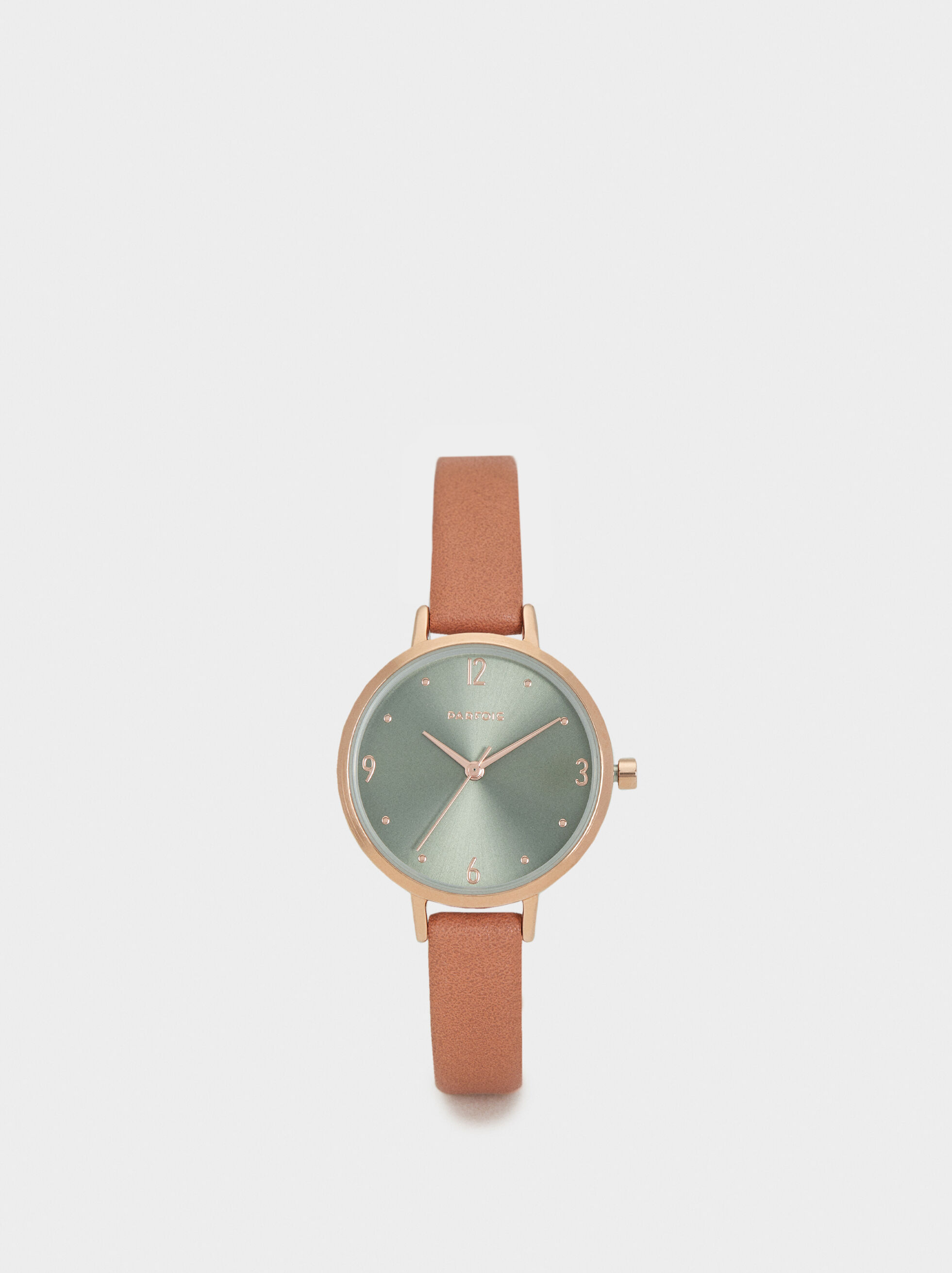 Watch With Textured Leather Wristband, , hi-res