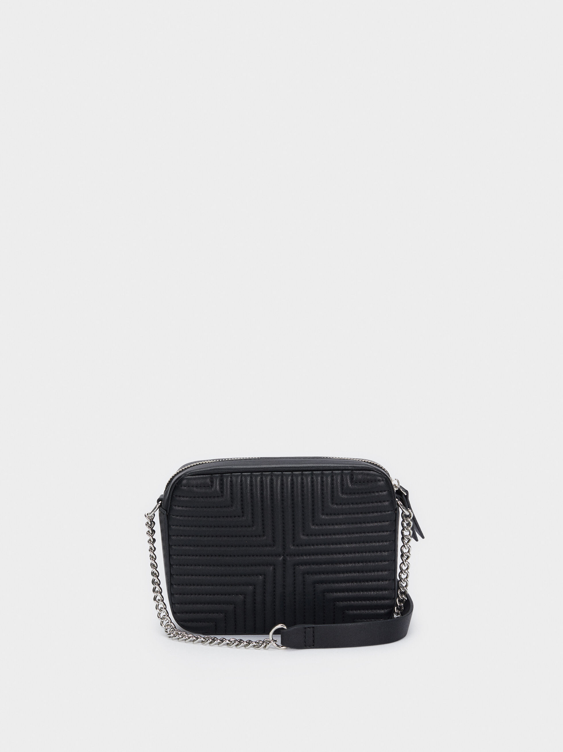 Crossbody Bag With Contrasting Chain Handle, Black, hi-res