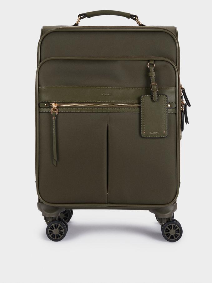 Nylon Suitcase, Khaki, hi-res