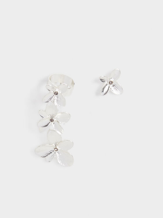 Flower Ear Cuff Earrings, Silver, hi-res