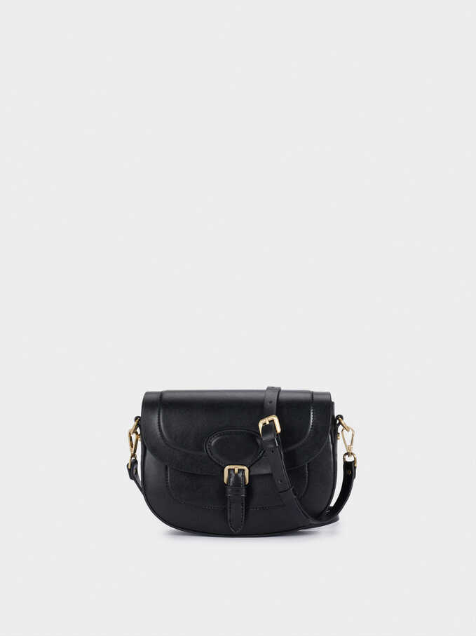 Crossbody Bag With Buckle Fastening, Black, hi-res