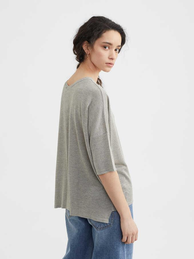 V-Neck Sweater, Silver, hi-res