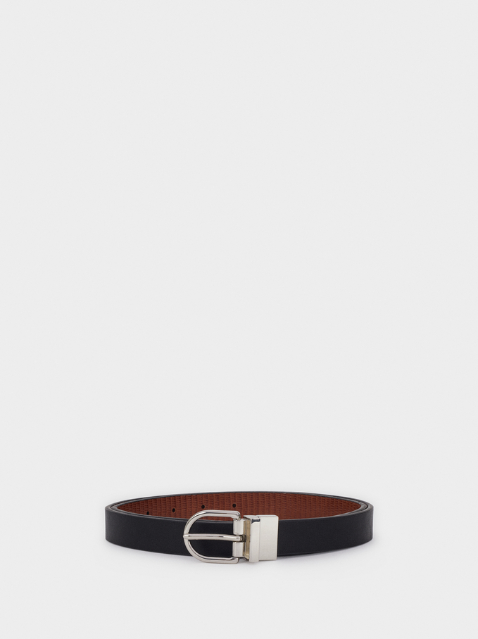Belt With Silver-Plated Buckle, Black, hi-res