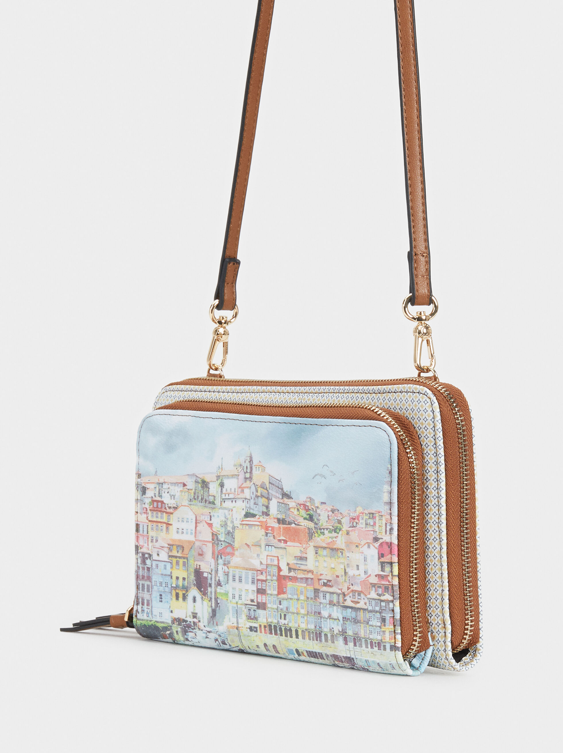 Porto Print Large Purse, Blue, hi-res