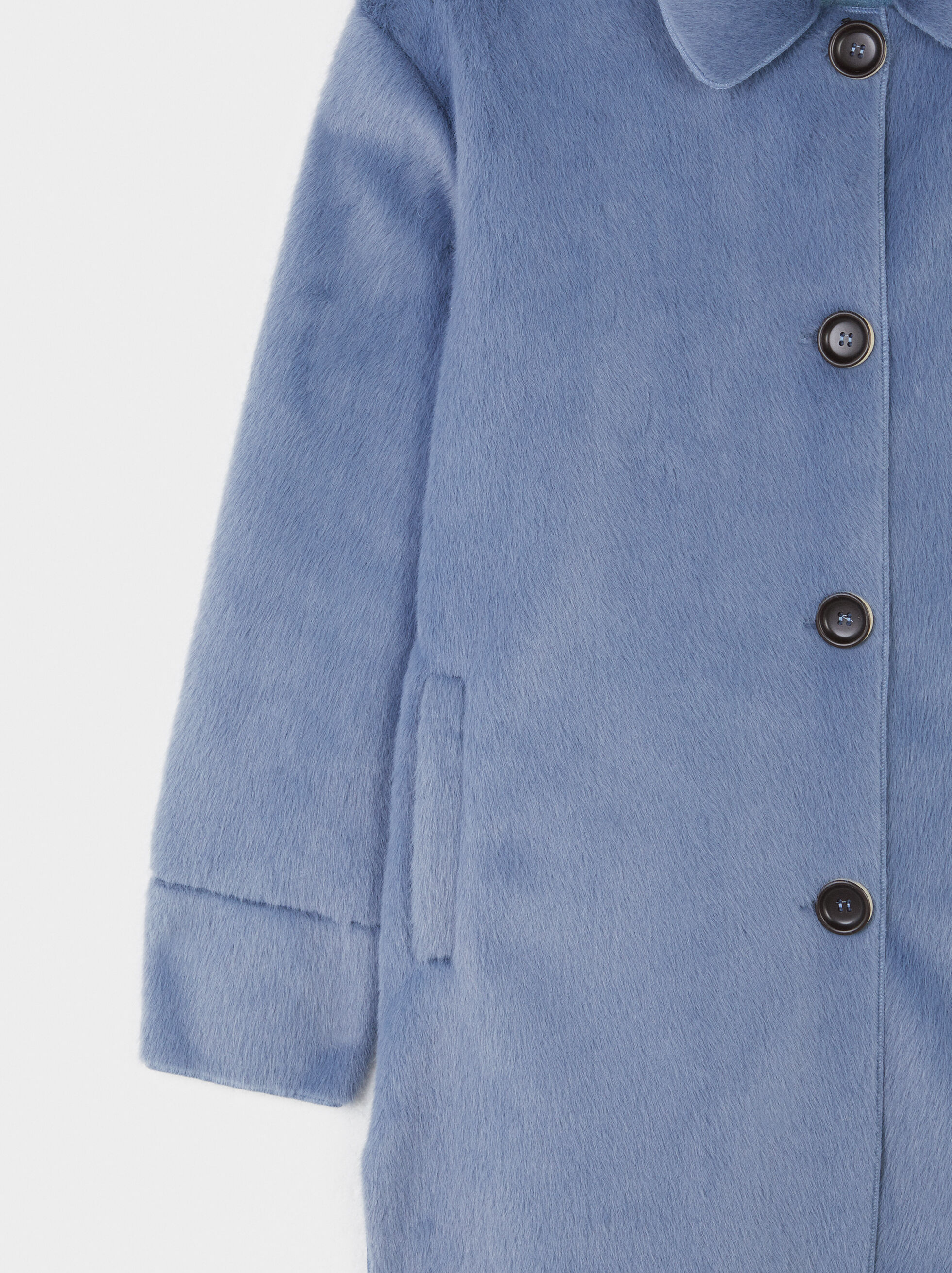 Button-Up Fake Fur Coat, Blue, hi-res