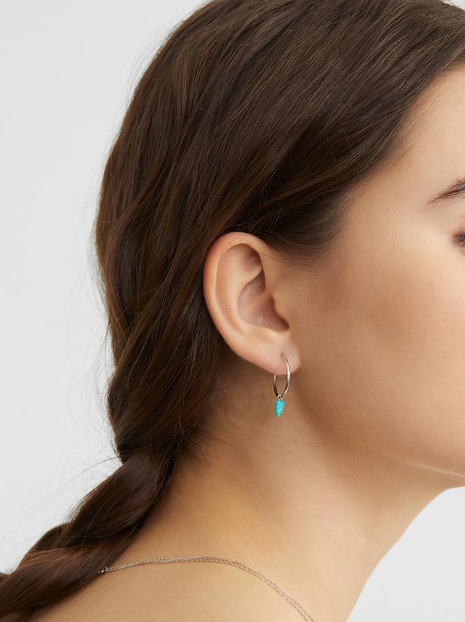 925 Silver Hoop Earrings With Leaf Detail, Beige, hi-res