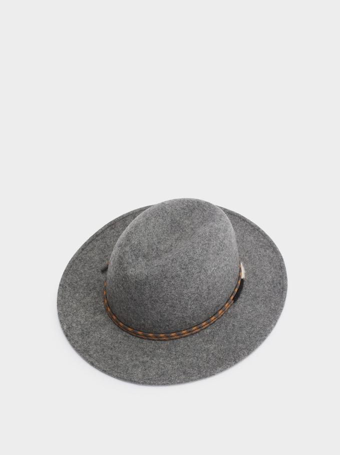 Woollen Hat With Contrast Band, Grey, hi-res