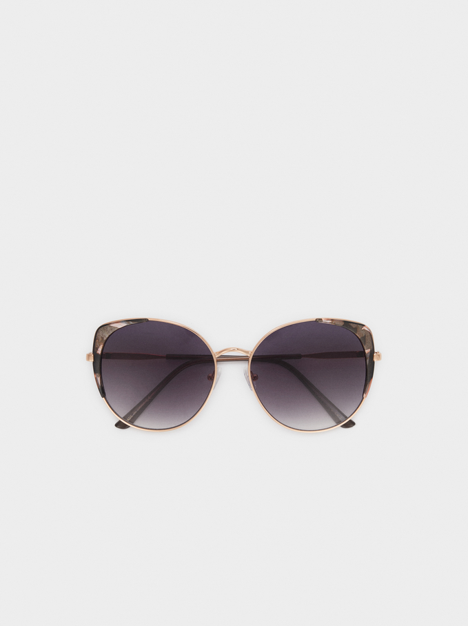 Round Metallic Sunglasses, Orange, hi-res