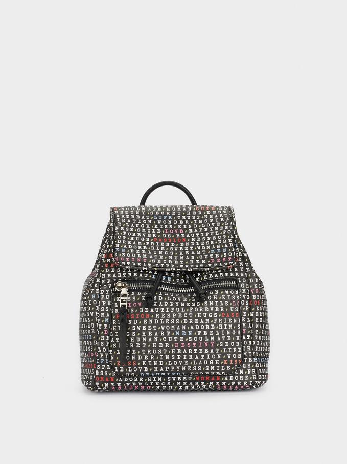 Printed Backpack With Outer Pocket, Black, hi-res