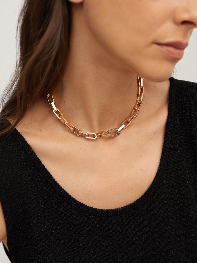 Short Gold-Toned Chain Necklace, Golden, hi-res