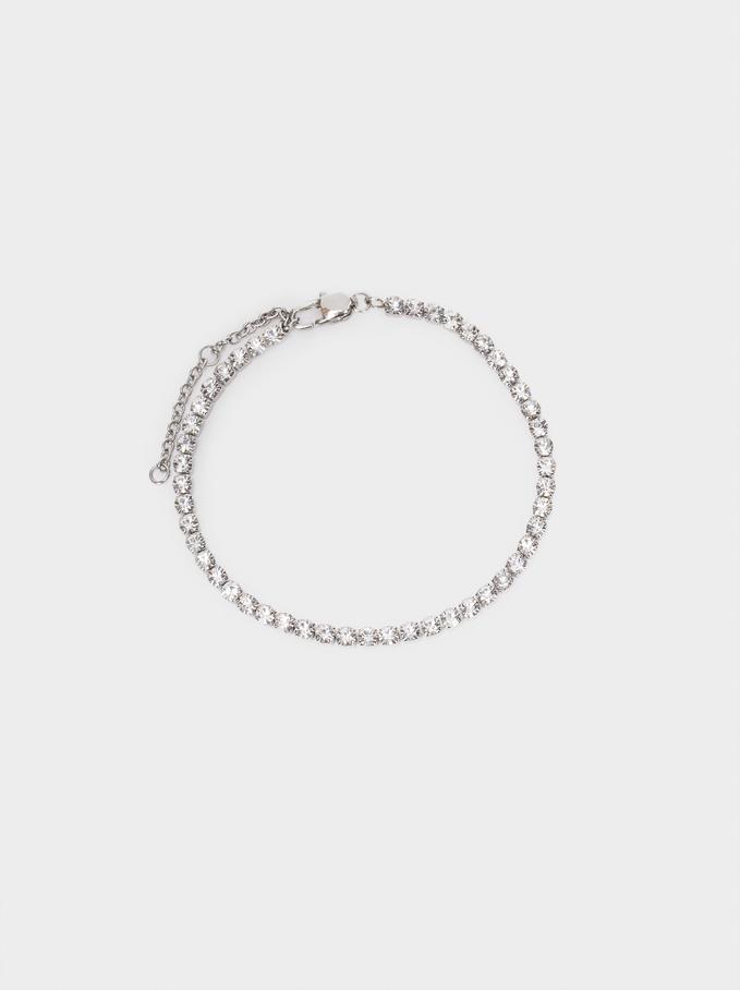 Adjustable Steel Bracelet, Silver, hi-res