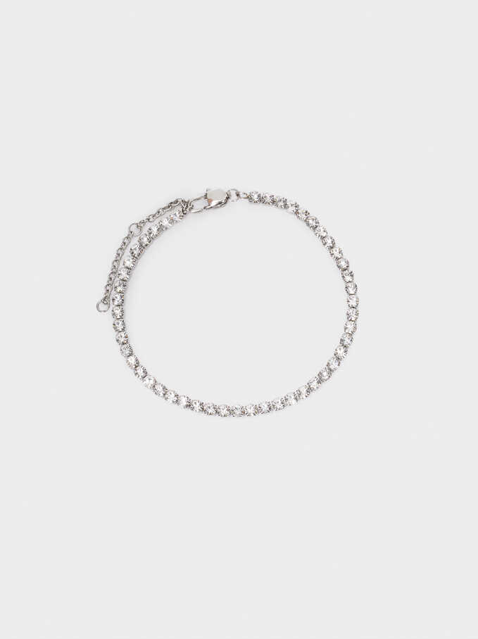 Adjustable Steel Bracelet, Silver, hi-res