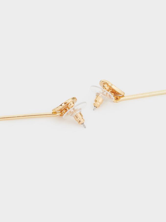 Long Pearl Earrings, Golden, hi-res