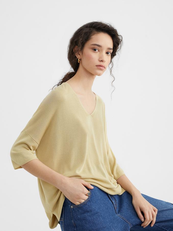 Camiseta De Punto, Amarillo, hi-res