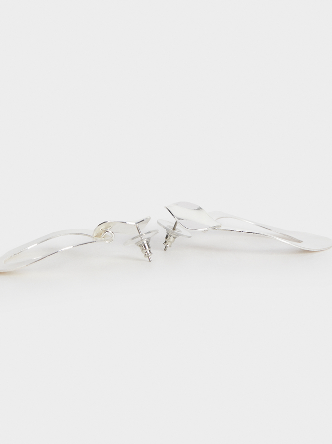 Basic Dangle Earrings, Silver, hi-res