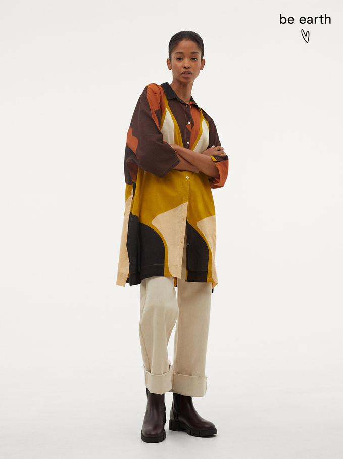 100% Cotton Printed Shirt Dress, Beige, hi-res
