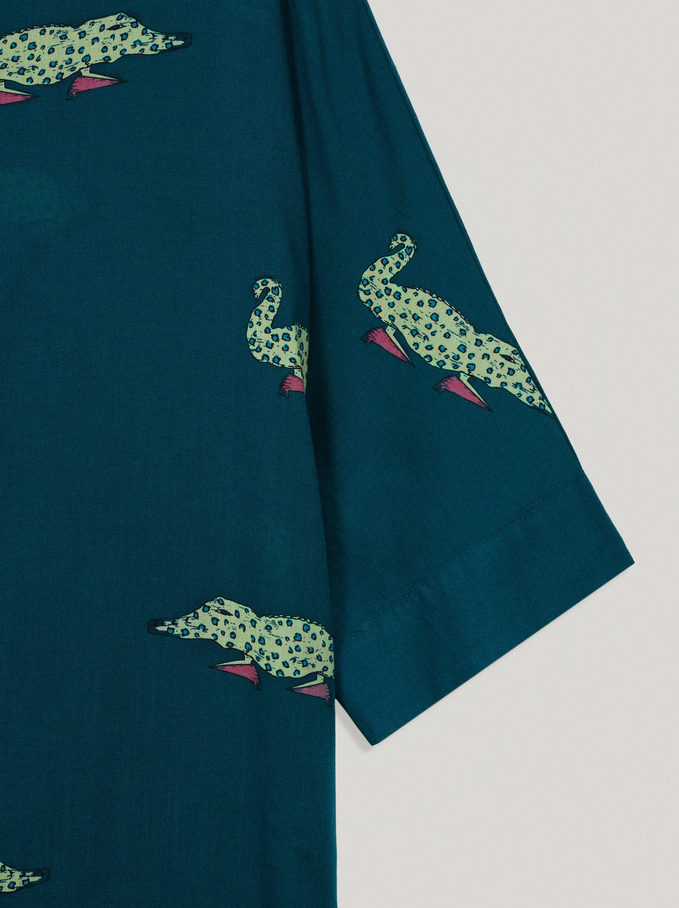 100% Lyocell Printed Shirt Dress, Green, hi-res
