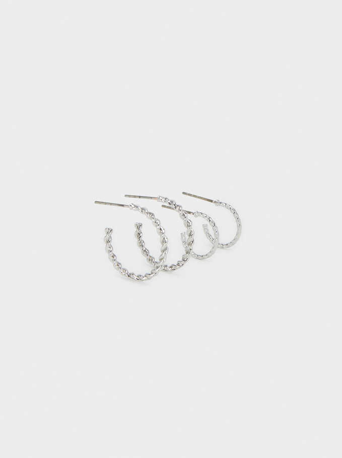 Hoop Fever Hoop Earrings Set, Silver, hi-res
