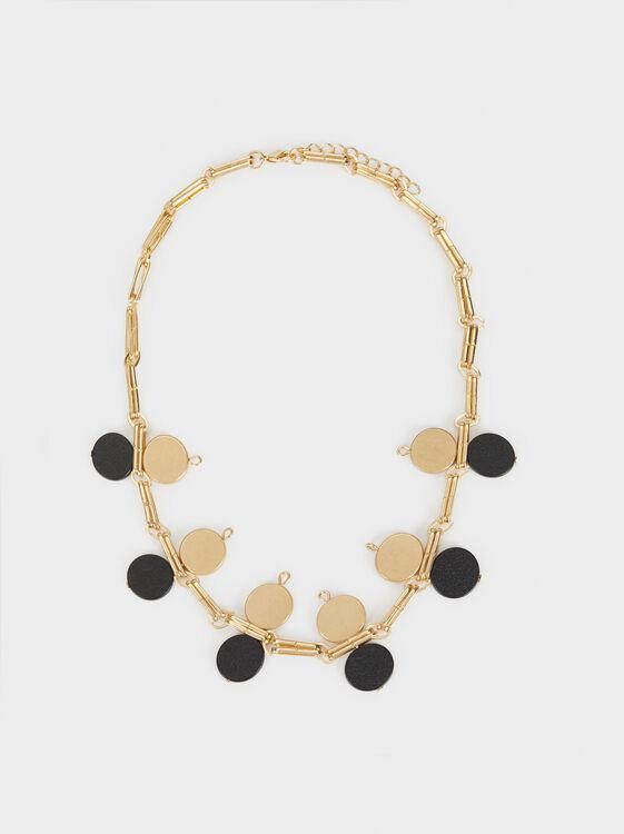 Short Blog Necklace, Golden, hi-res