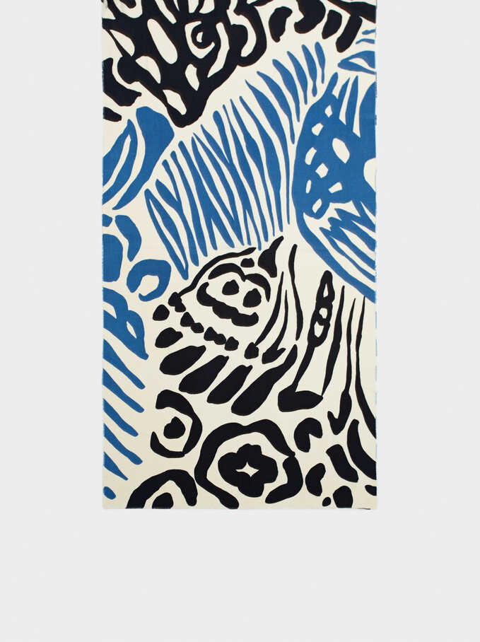 Printed Scarf, Blue, hi-res