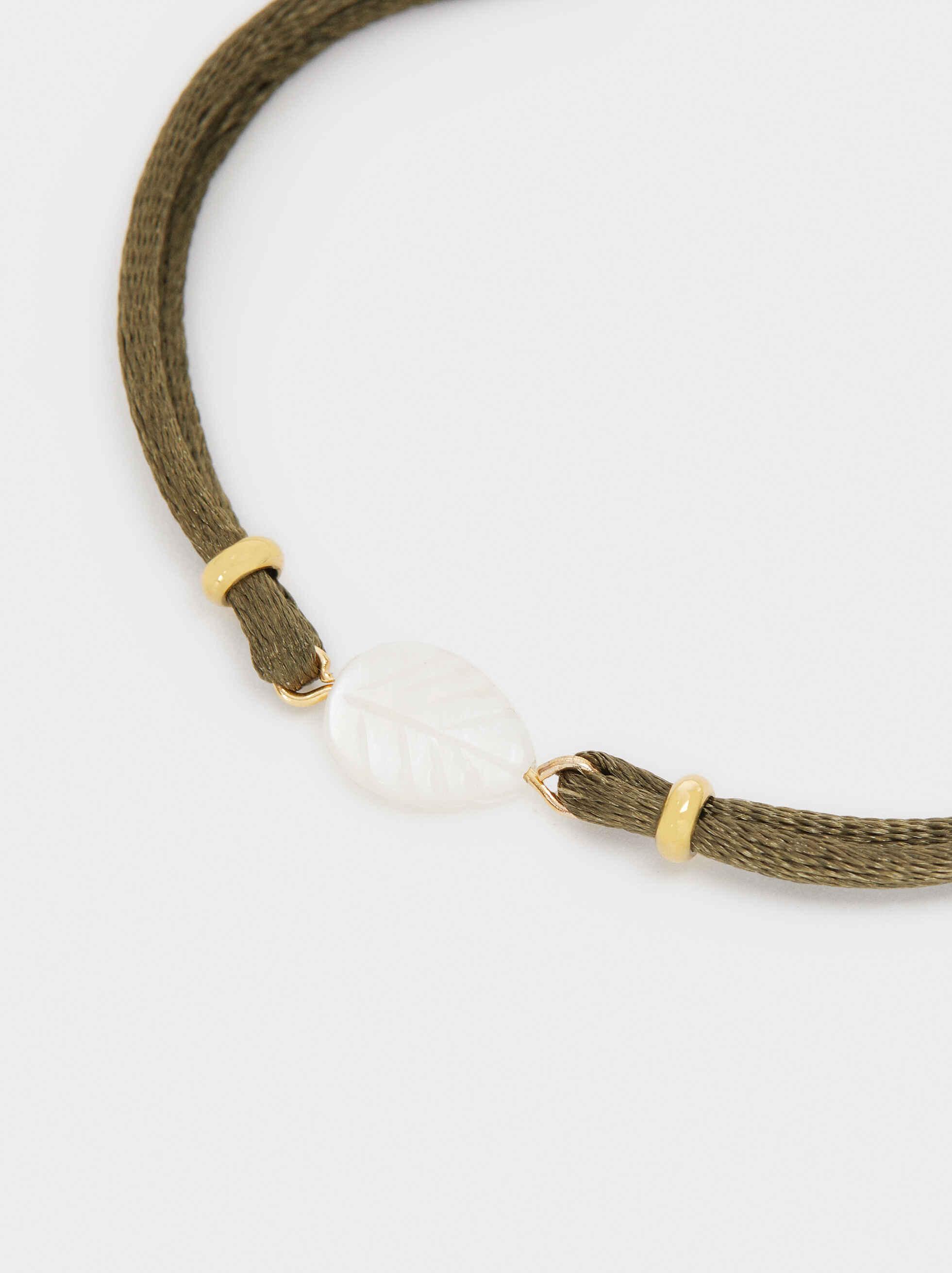 Adjustable Cord Bracelet With Leaf Charm, Khaki, hi-res