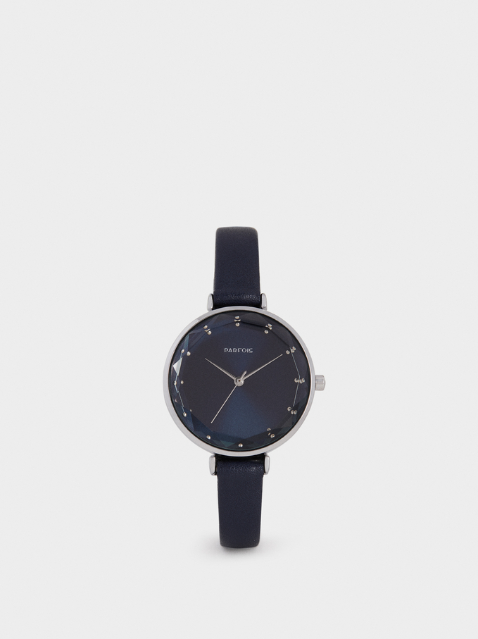 Watch With Geometric Dial Detail, Blue, hi-res