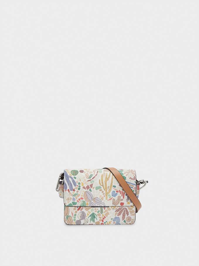 Cactus Print Crossbody Bag, Ecru, hi-res