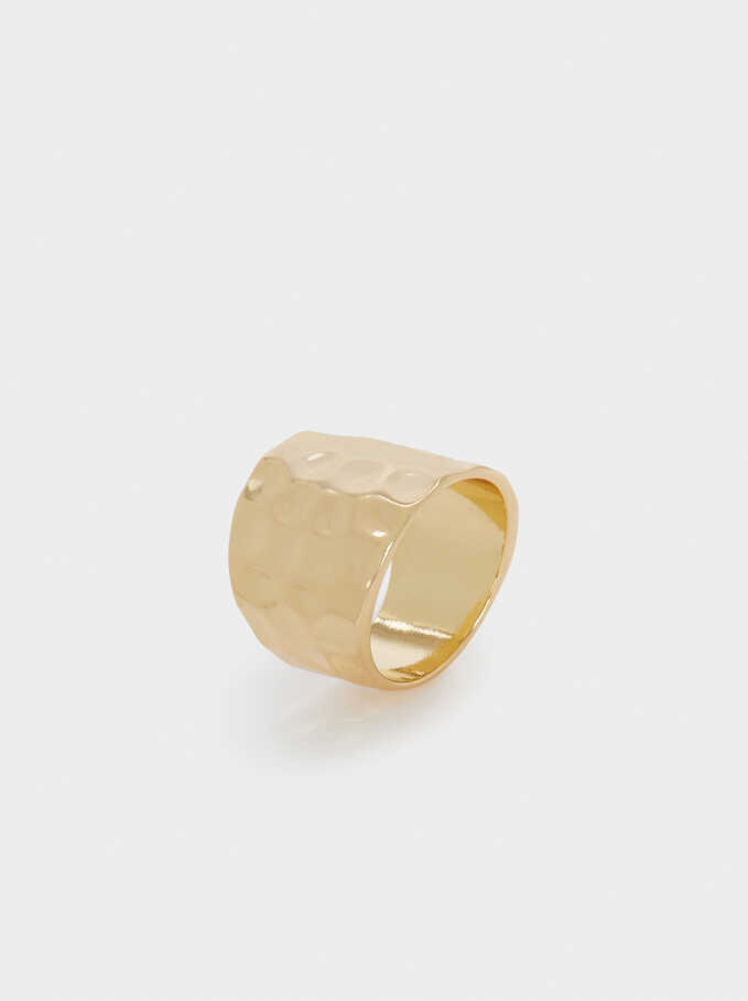 Golden Raised Effect Ring, Golden, hi-res