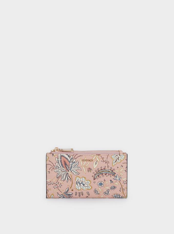 Compact Floral Print Wallet, Pink, hi-res