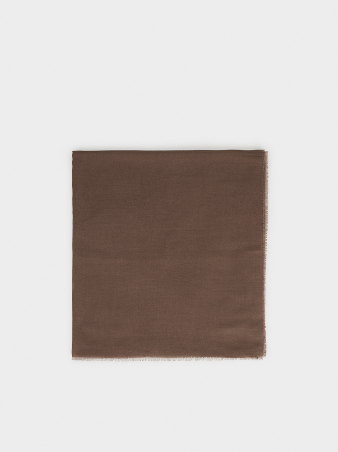 Plain Pashmina, Brown, hi-res