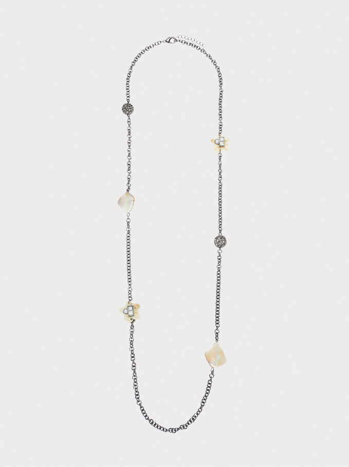 Long Necklace With Crystals, Multicolor, hi-res
