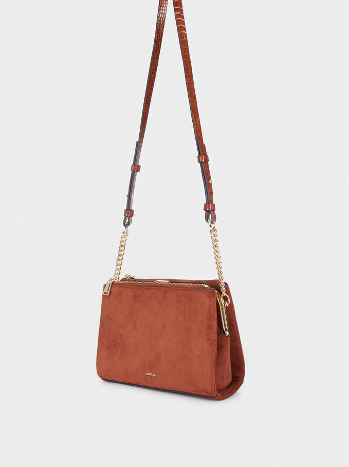 Faux Suede Crossbody Bag With Embossed Animal Print Strap, Camel, hi-res