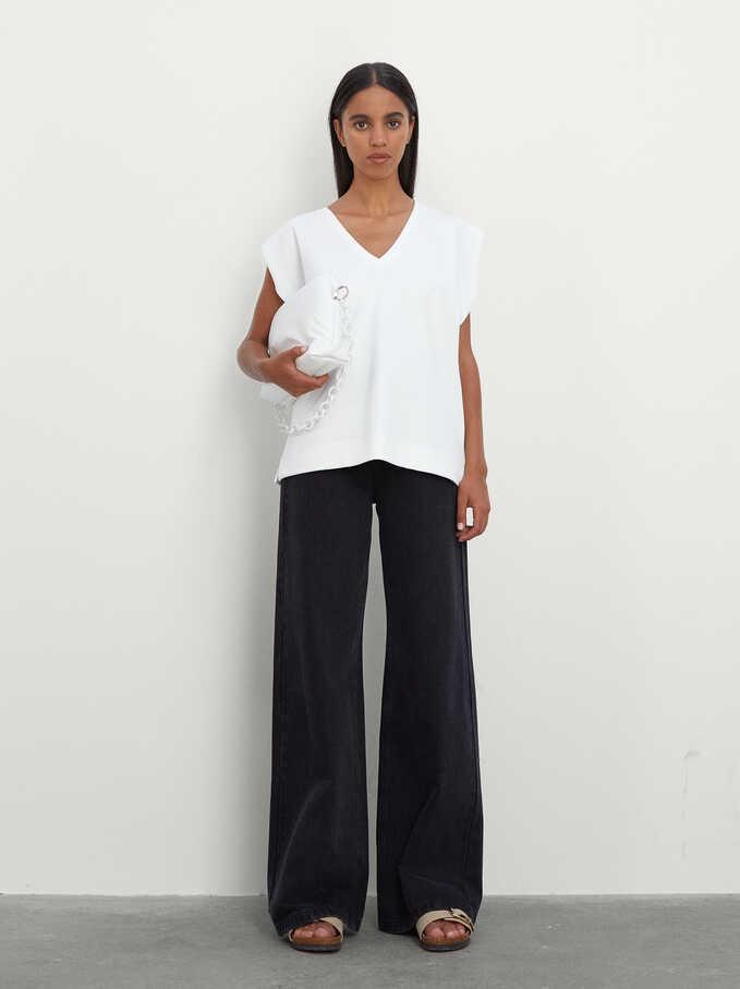 100% Cotton Sleeveless V-Neck T-Shirt, White, hi-res