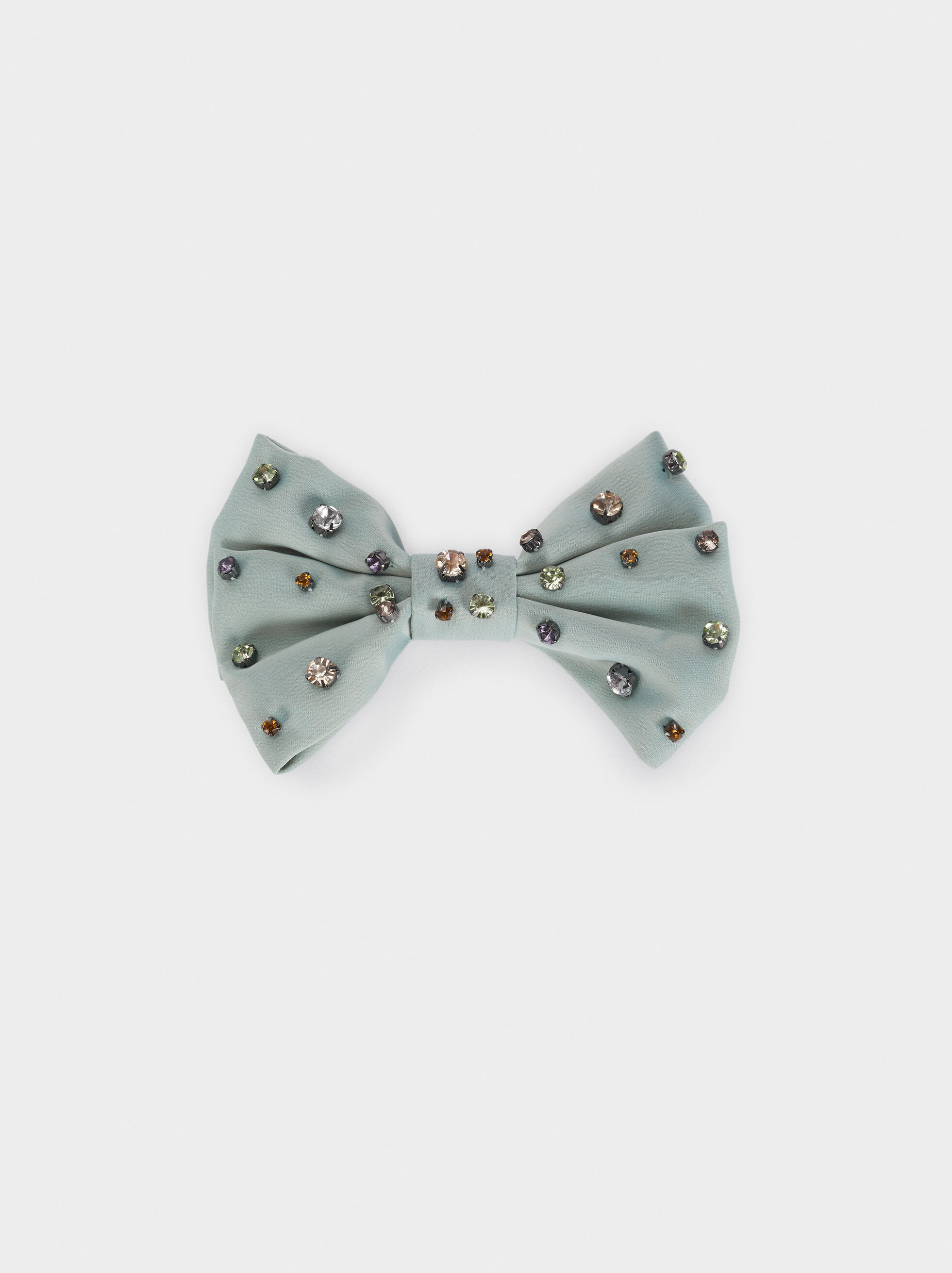Bow Hairclip With Gems, , hi-res