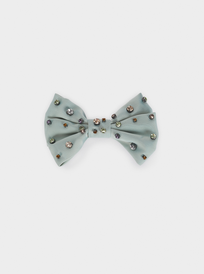 Bow Hairclip With Gems, Green, hi-res