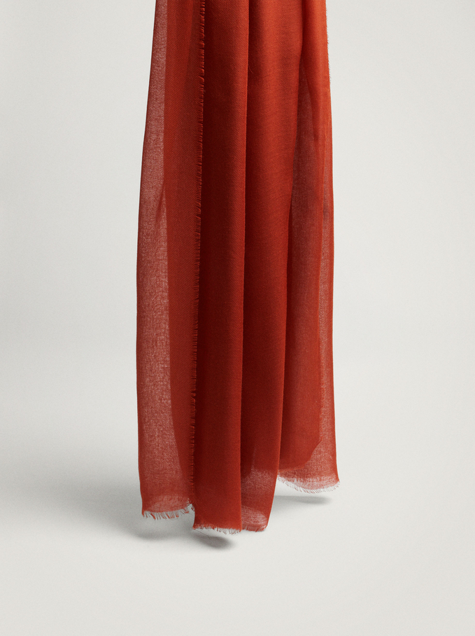 Plain Pashmina Made From Recycled Materials, Orange, hi-res