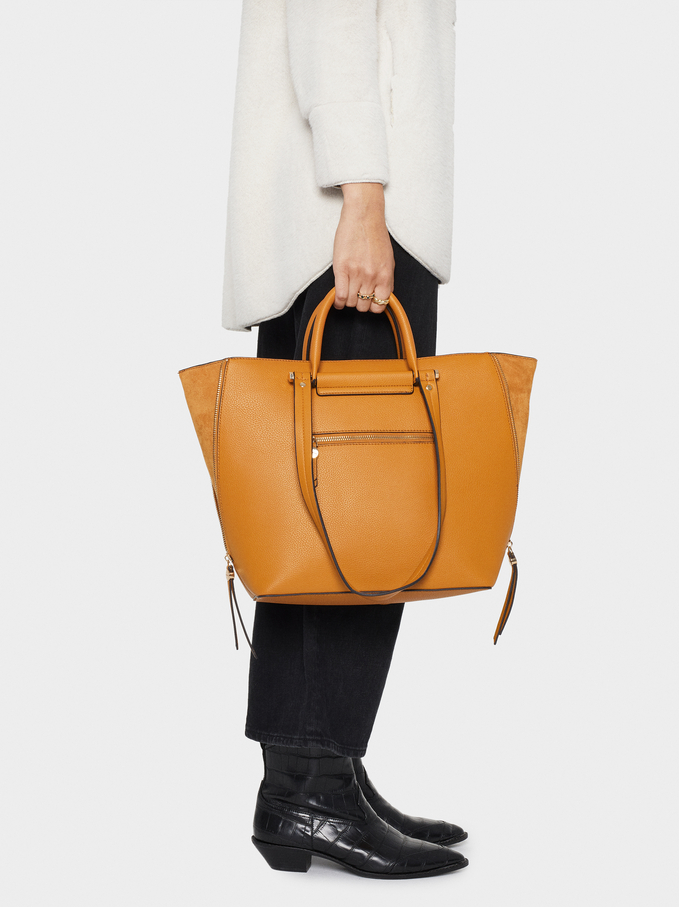 Tote Bag With Faux Suede Trim, Mustard, hi-res