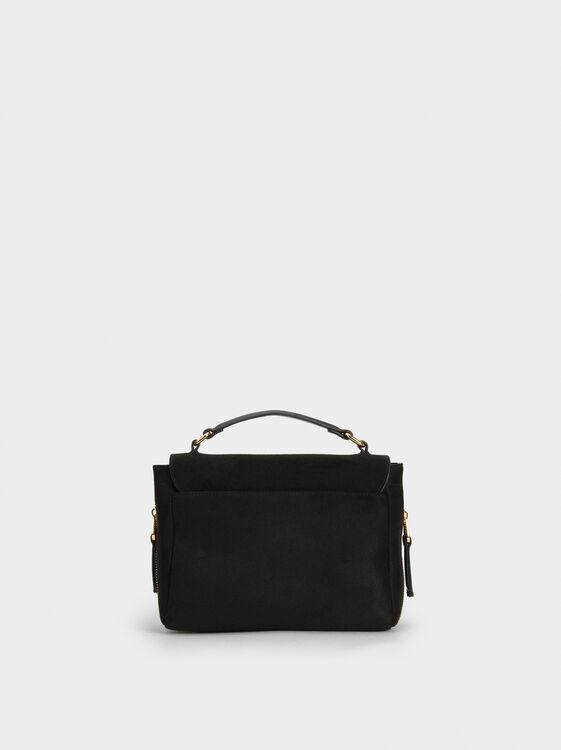 Suede Texture Crossbody Bag, Black, hi-res