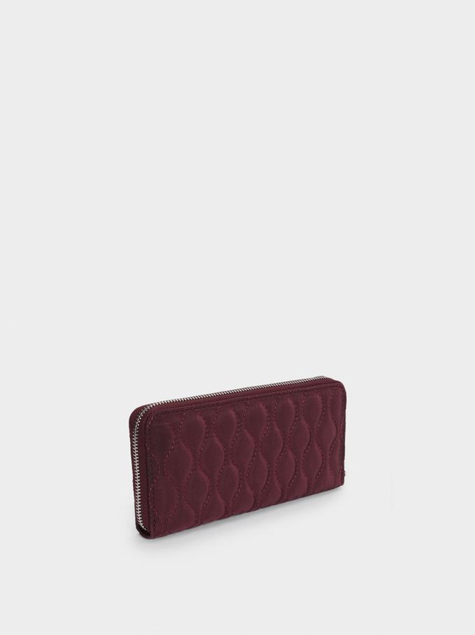 Quilted Nylon Large Wallet, Bordeaux, hi-res