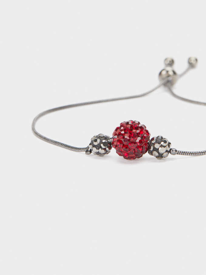 Adjustable Bracelet With Crystals, Bordeaux, hi-res