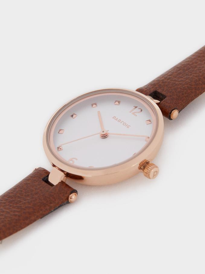 Reloj Metálica Oro Rosa, Marrón, hi-res