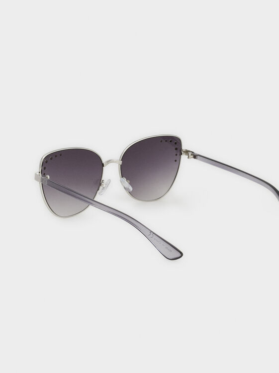 Cat Eye Sunglasses, Silver, hi-res