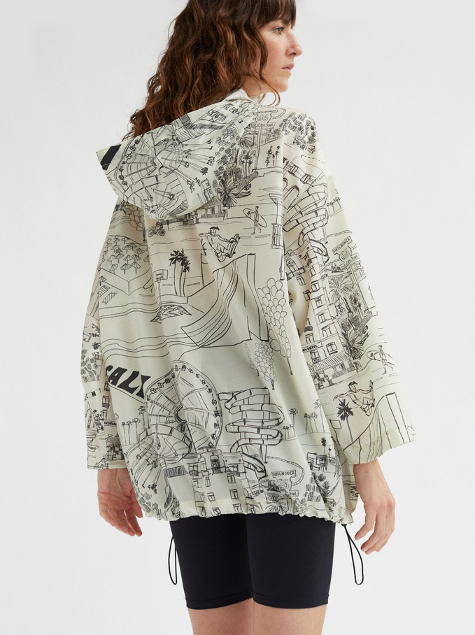 Printed Coat With Hood, Ecru, hi-res