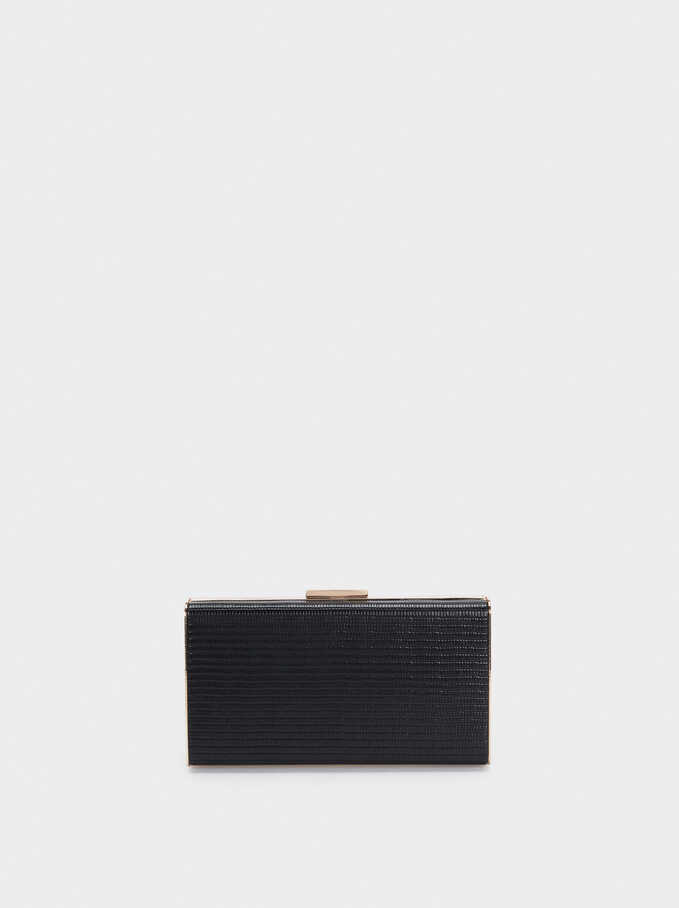 Embossed Animal-Print Party Clutch, Black, hi-res