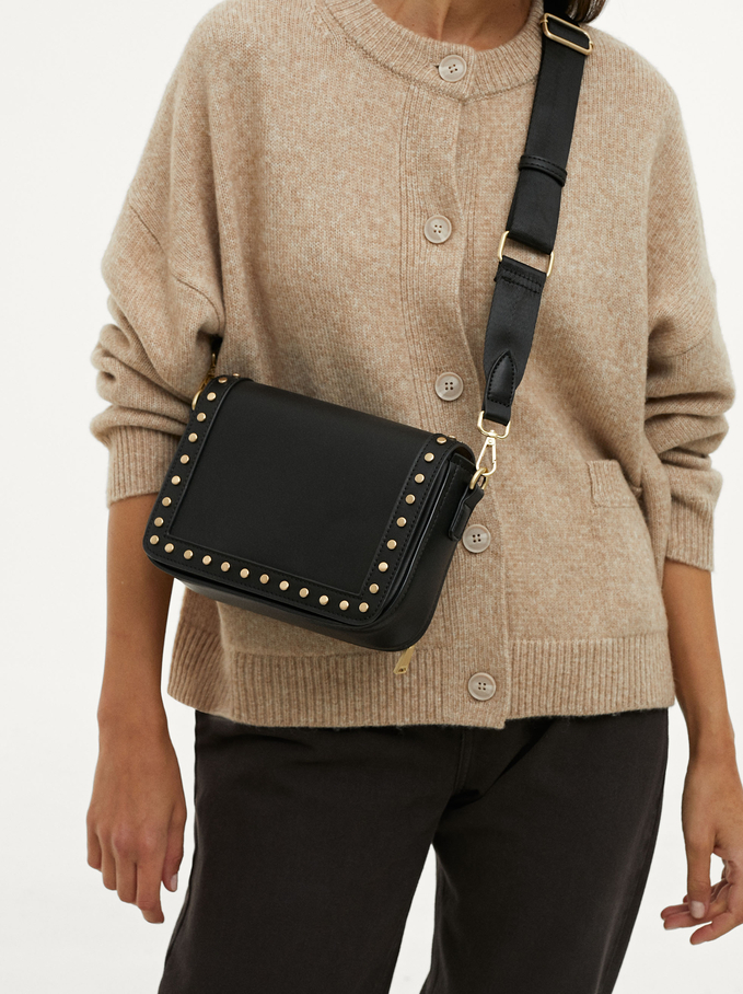 Crossbody Bag With Tacks, Black, hi-res